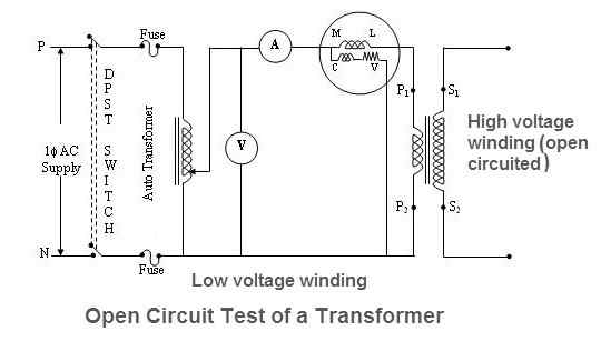 open circuit test of single phase transformer