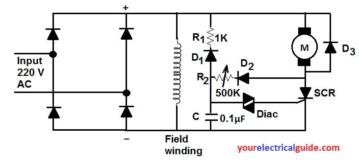 speed control of dc shunt motor by SCR